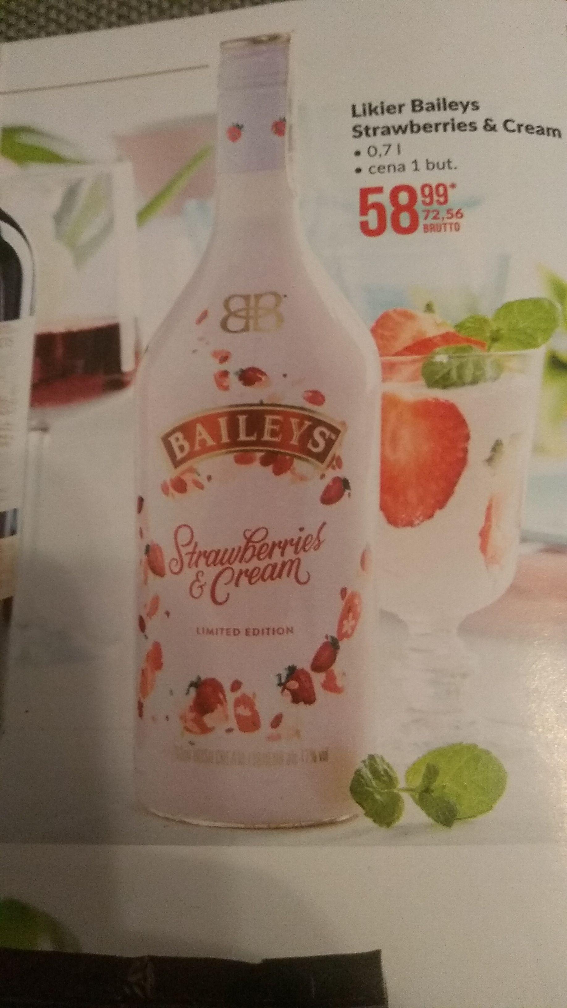 Likier Baileys Strawberries & Cream 0,7l Makro. Cena przeliczona na detaliczną.