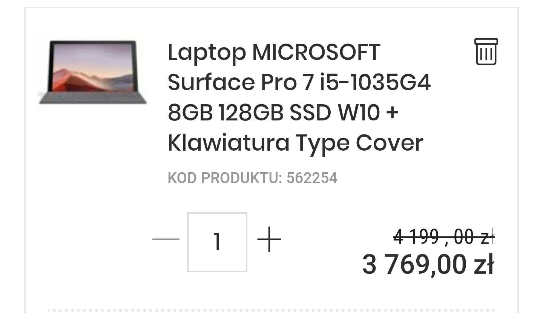 MICROSOFT Surface Pro 7 i5-1035G4 8GB 128GB SSD W10 + Klawiatura Type Cover