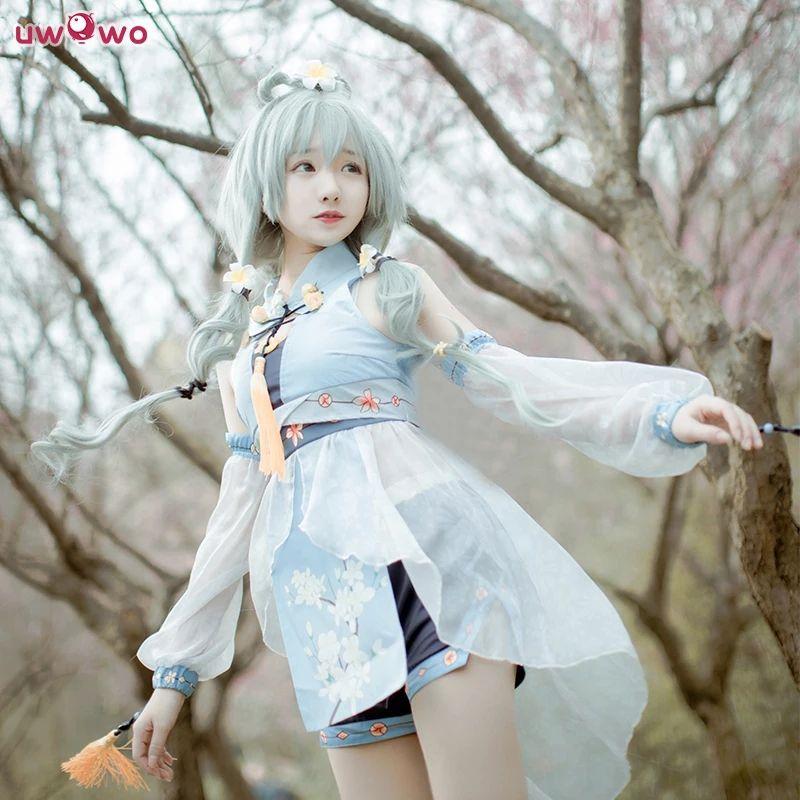 AliExpress UWOWO cosplay biały kostium Kawaii VOCALOID bez peruki dla pań 7,48$ rozmiar S