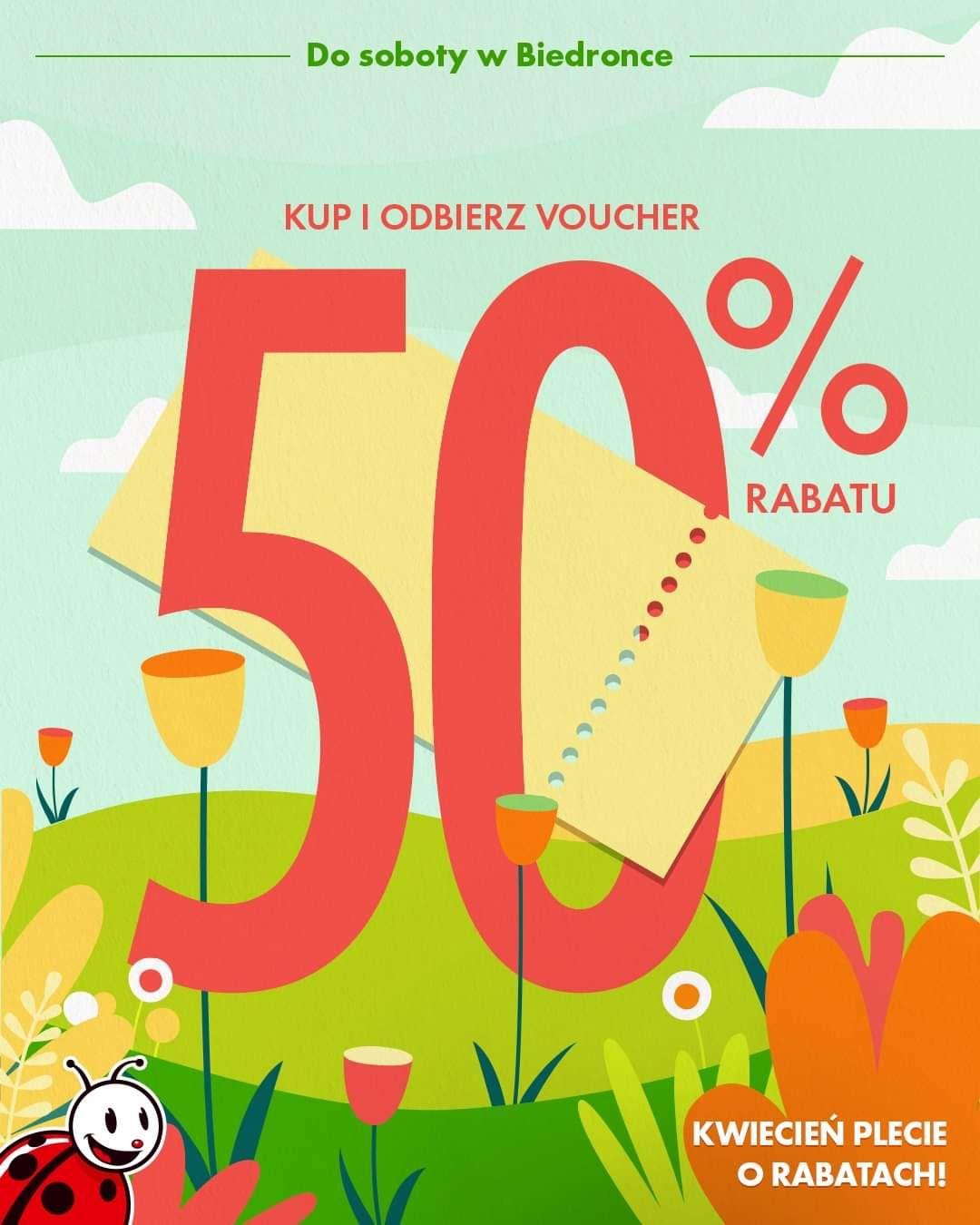50% na artykuły przemysłowe, książki, tekstylia w formie vouchera - Biedronka