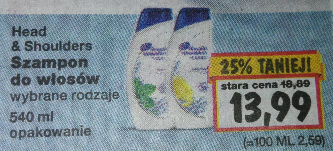 Szampon Head & Shoulders 540 ml za 13,99 zl w Kauflandzie