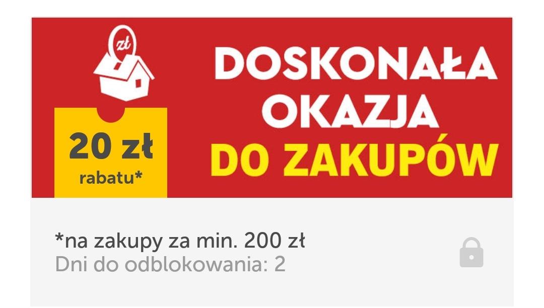 Kupon w aplikacji Lidl plus obniżający zakupy o 20 zł za wydane minimum 200 zł