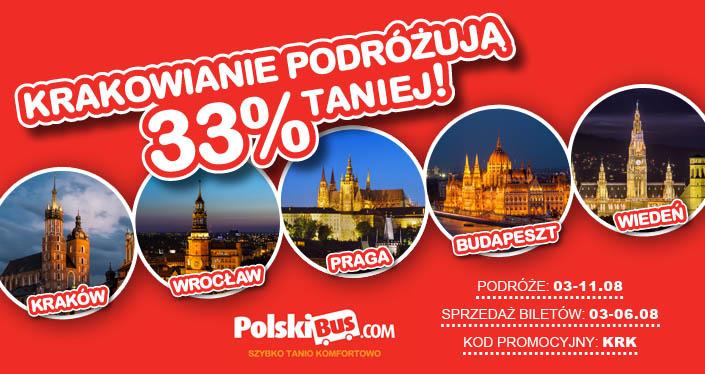 Polski Bus, 33% taniej bilety z Krakowa do Wrocławia, Wiednia, Budapesztu, Pragi w dniach 6-11.08