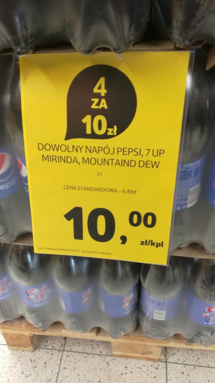Pepsi, 7 up, mirinda, mountain dev - 4 x 2l za 10zł (1,25zł/l) @Tesco