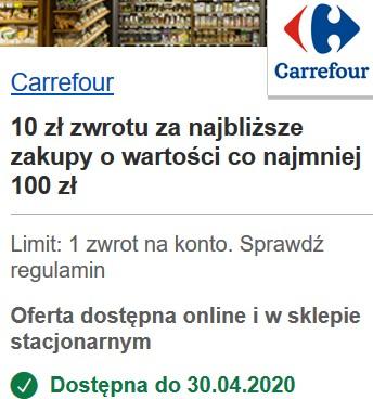 Carrefour - 10 zł zwrotu od Visa Oferty (MWZ 100 zł).