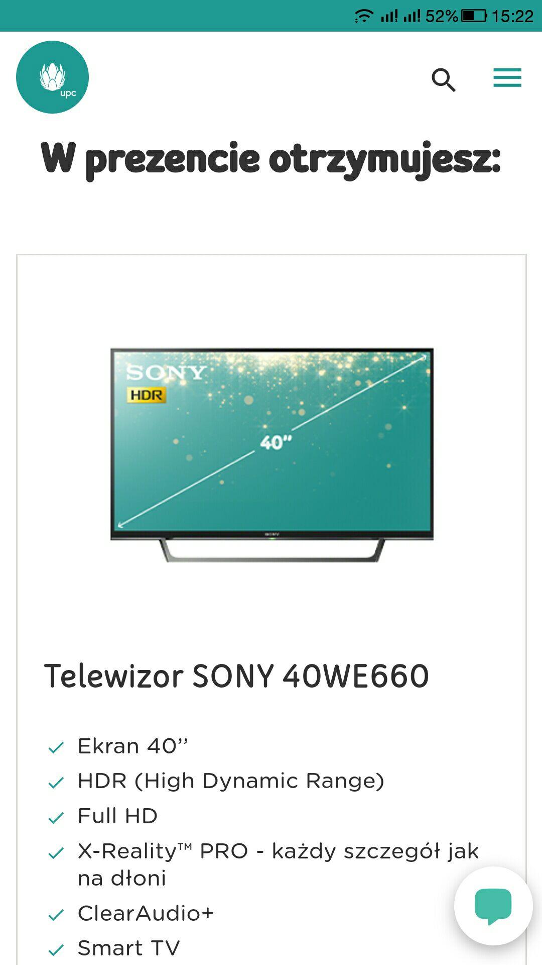 TV SONY 40WE660 gratis za podpisanie umowy w UPC