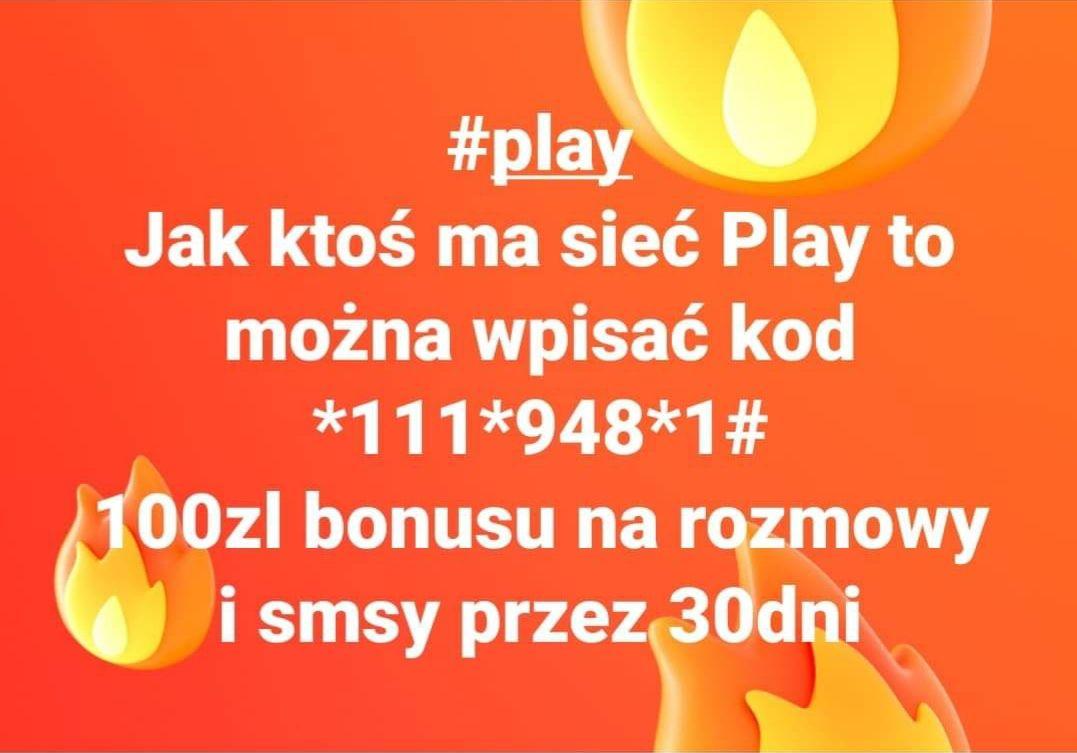 100zł bonusu na rozmowy i SMS'y w Play na kartę