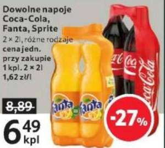 Coca Cola/Fanta/Sprite 2x2l za 6,49 TESCO
