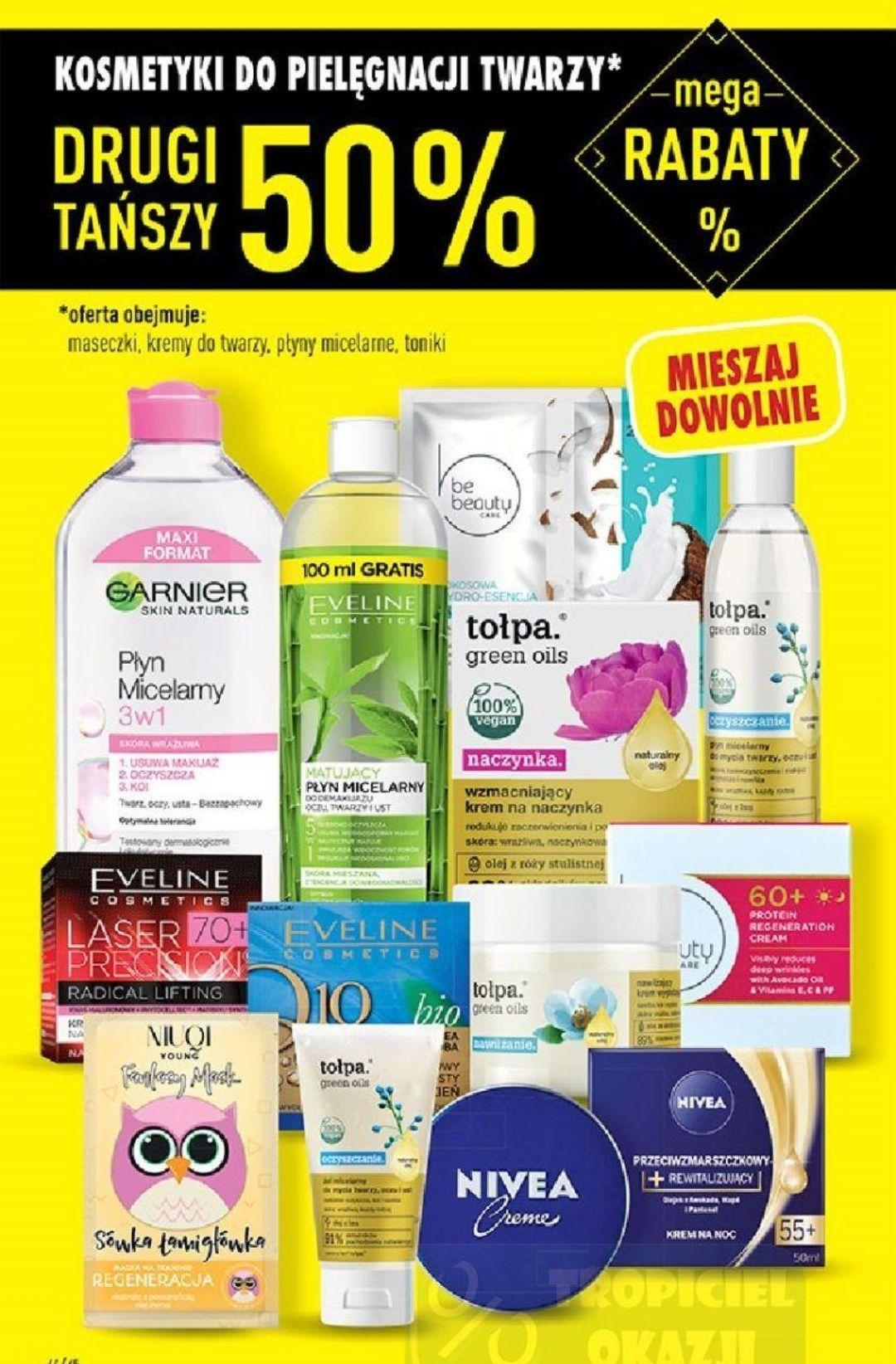 Wszystkie kosmetyki do pielęgnacji twarzy oraz dezodoranty i perfumy drugi produkt 50% taniej - Biedronka