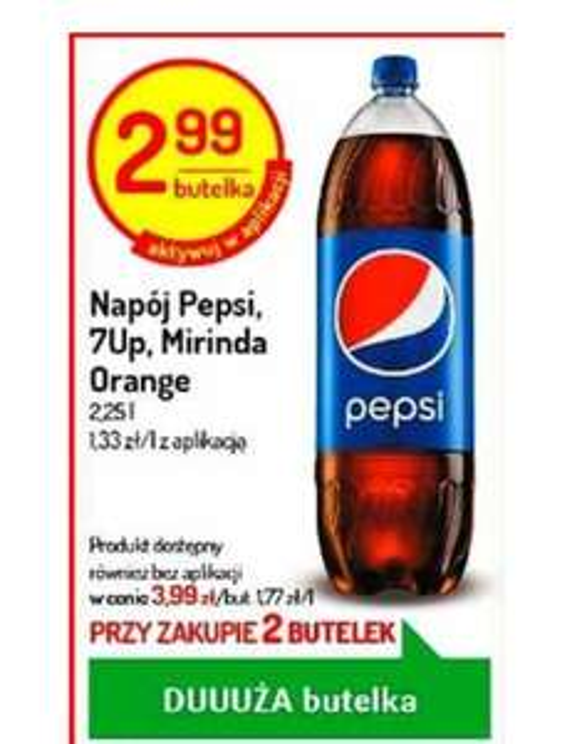 Pepsi, Mirinda, 7Up 2.25l. Cena przy zakupie 2. Delikatesy Centrum
