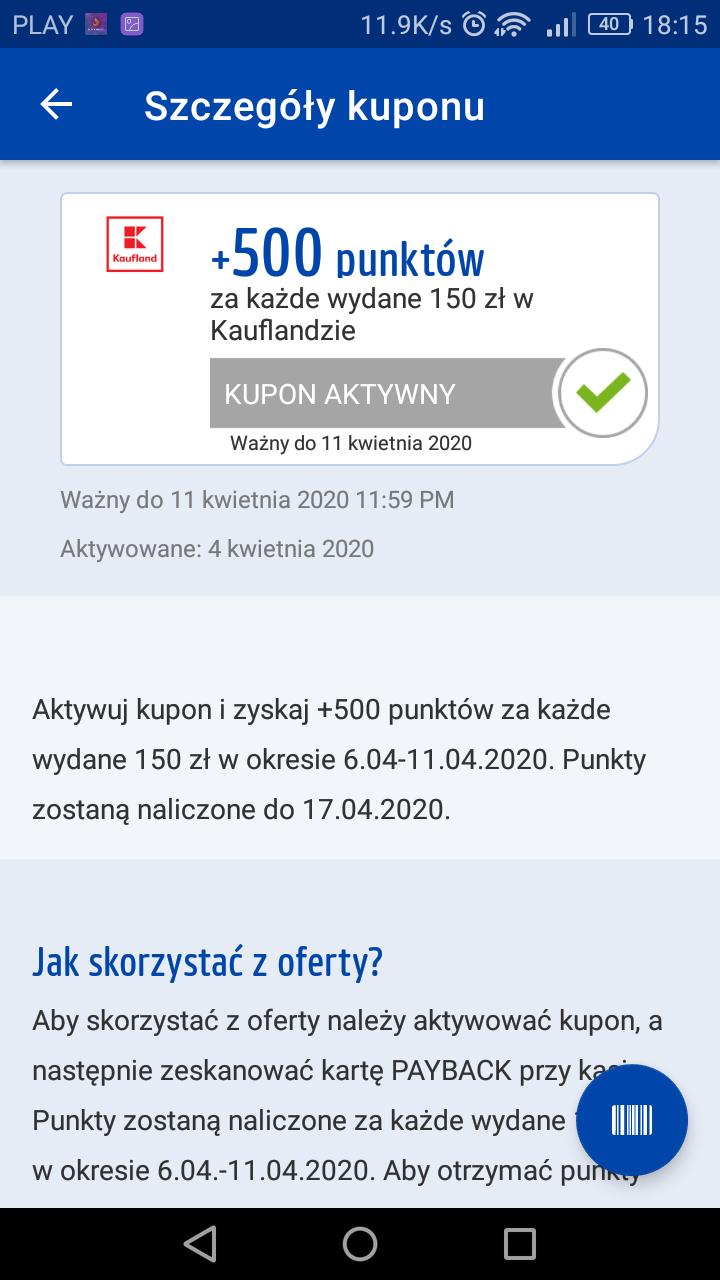 500 pkt payback w Kaufland