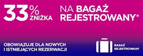 -33% na bagaż rejestrowany w Wizzair