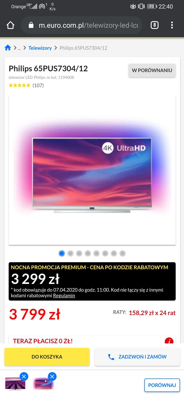 Ambilight, Dolby Vision, Telewizor 4k 65 cali, Philips 65PUS7304 Nocna promocja