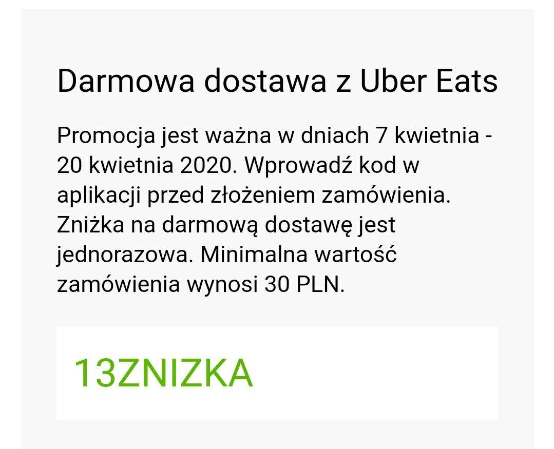 Uber Eats darmowa dostawa MWZ 30 ZŁ i inne promocje