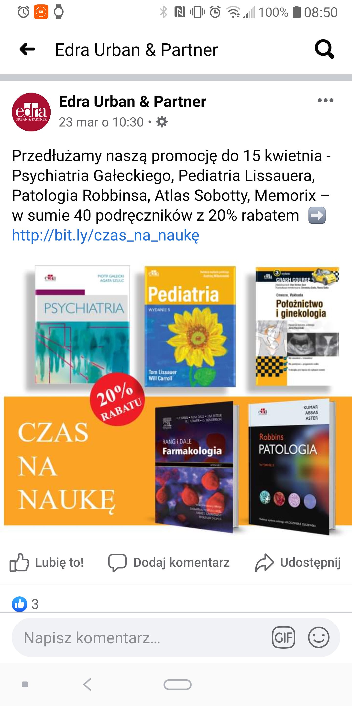 -20 % na książki medyczne dla studentów i lekarzy od Edra Urban 40 podręczników.