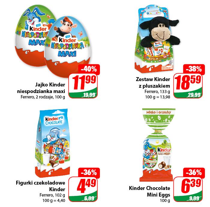 Jajka i Czekoladki Kinder - różne rodzaje -40% - DINO