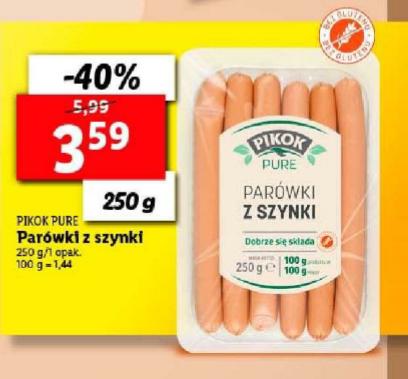 Parówki z szynki Pikok Pure 250g Bez chemii, naturalny skład. Lidl