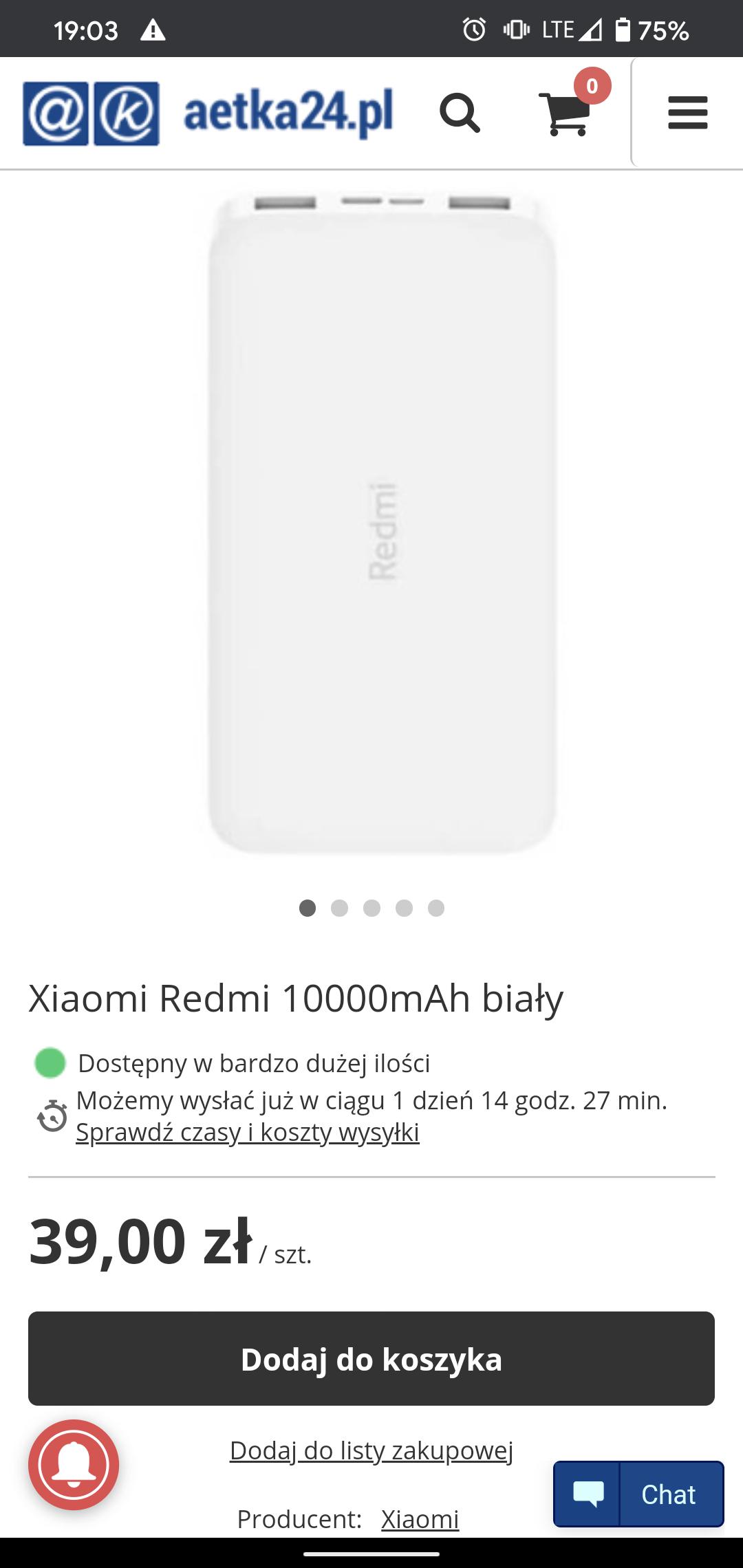 Powerbank Xiaomi Redmi 10000 mAh 10W