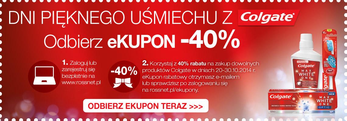 eKUPON -40% na zakup dowolnych produktów Colgate @ Rossmann
