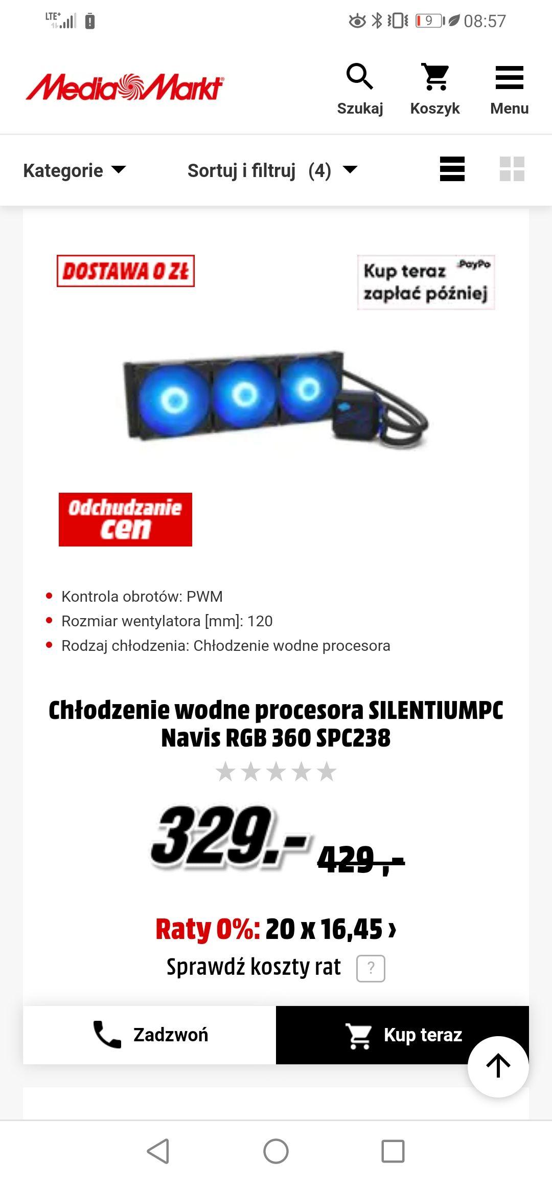 Chłodzenie wodne procesora SILENTIUMPC Navis RGB 360 SPC238