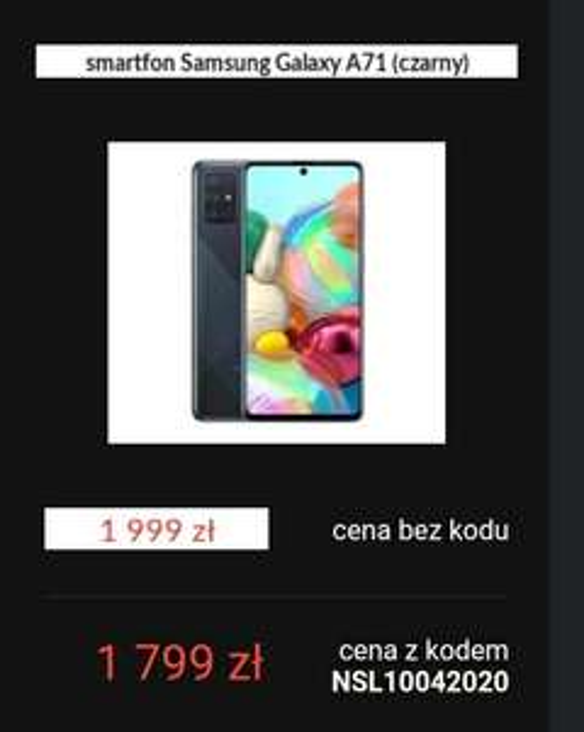 Samsung A71 200 zł taniej i wiele innych smartfonów. Kod w Euro.
