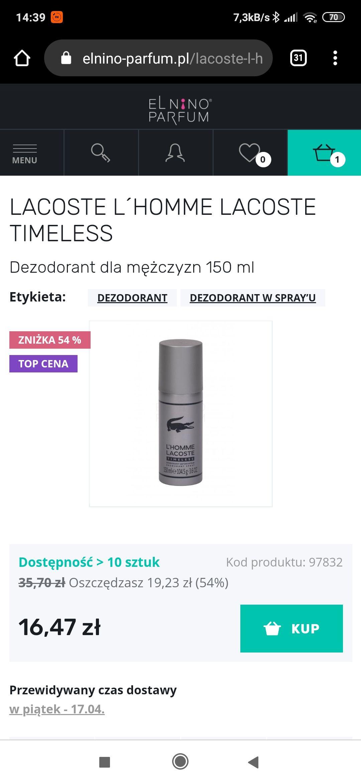 Dezodorant Lacoste l'homme 150 Timeless 150ml w dobrej cenie.