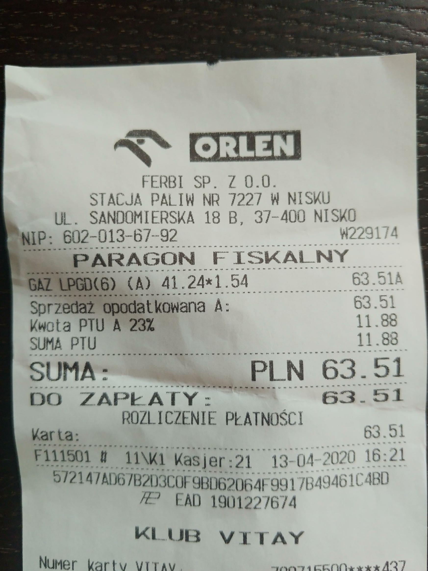 Lpg Orlen - Nisko 1,54zł