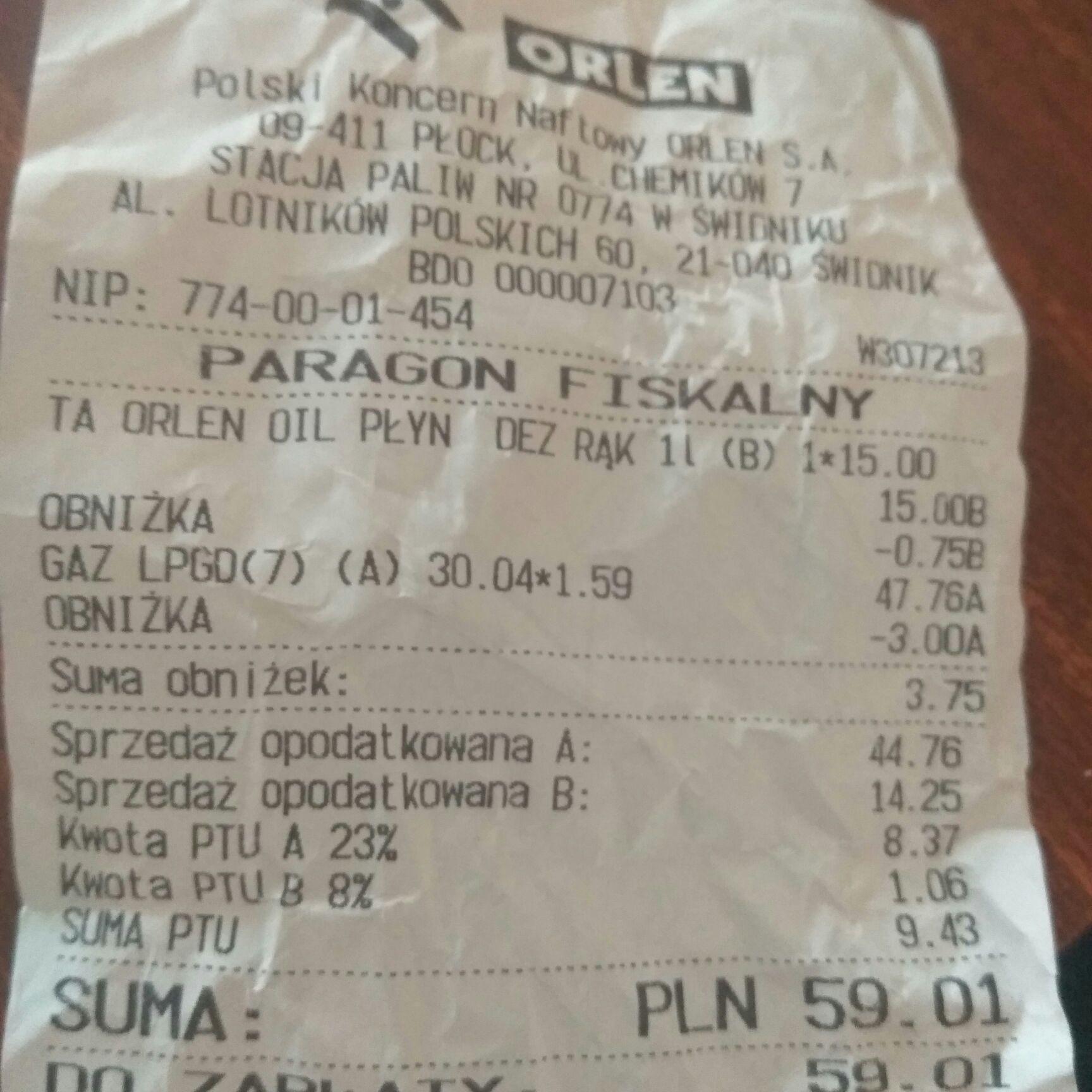 Orlen, Świdnik gaz/LPG 1,59zl/l, Pb95 3,69zl/l