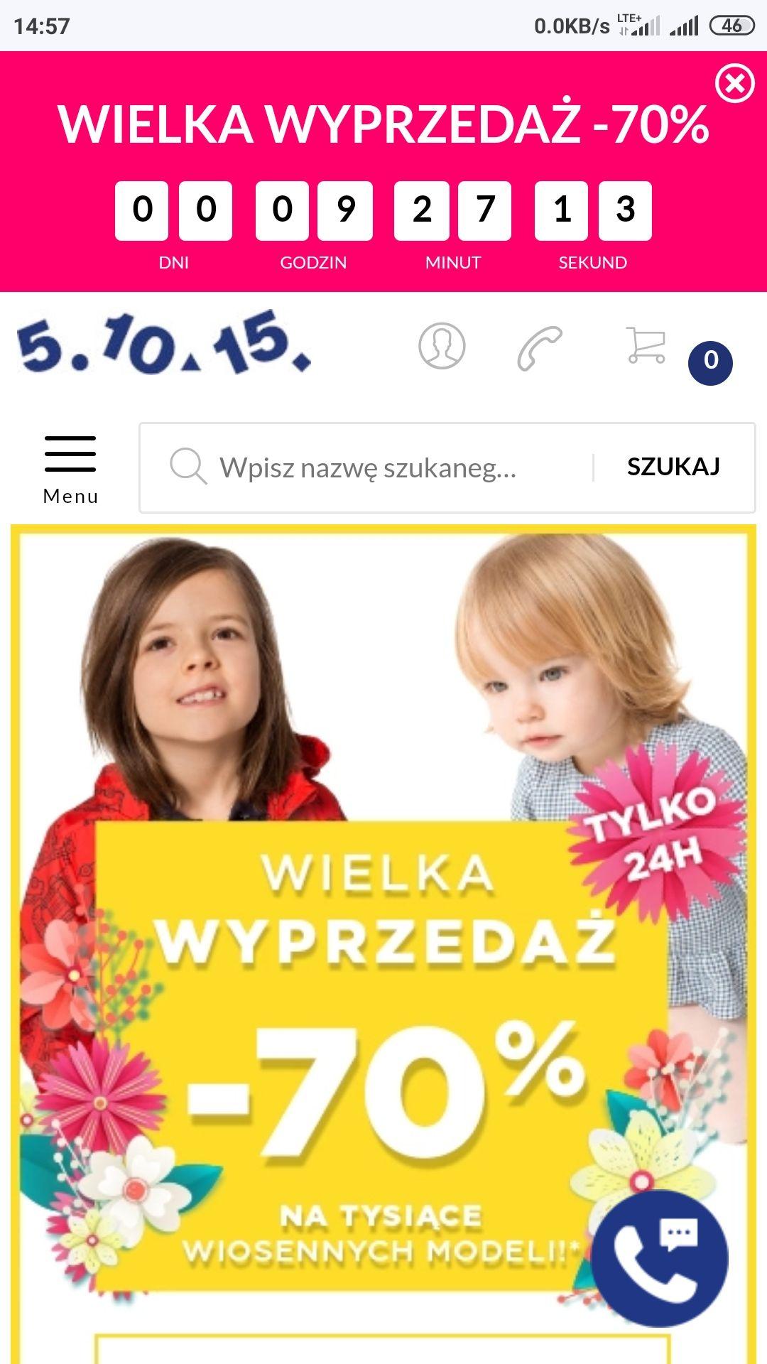 Wielka obniżka -70% na ubrania dla dzieci