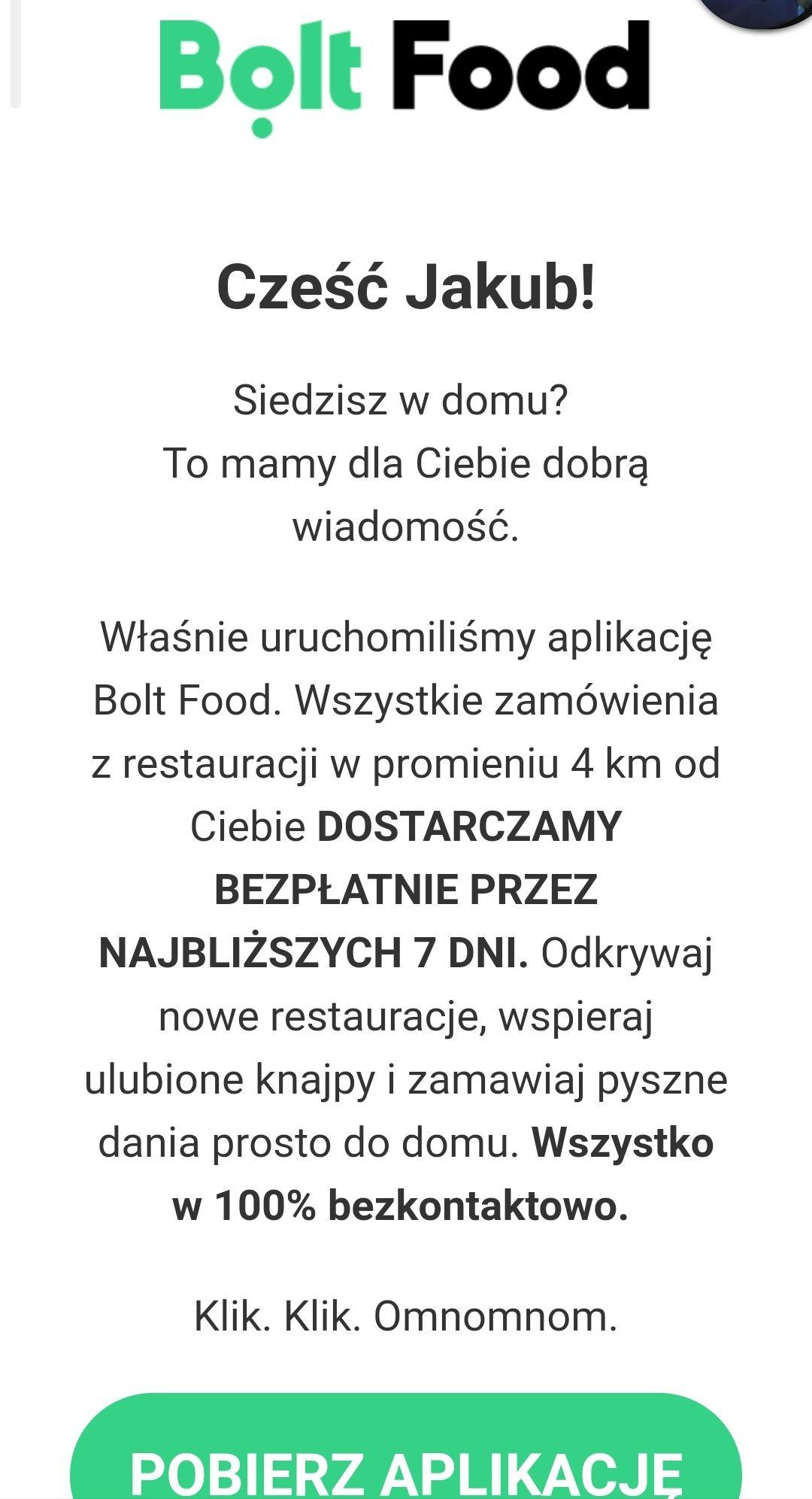 7 dni darmowej dostawy Bolt Food (Warszawa)