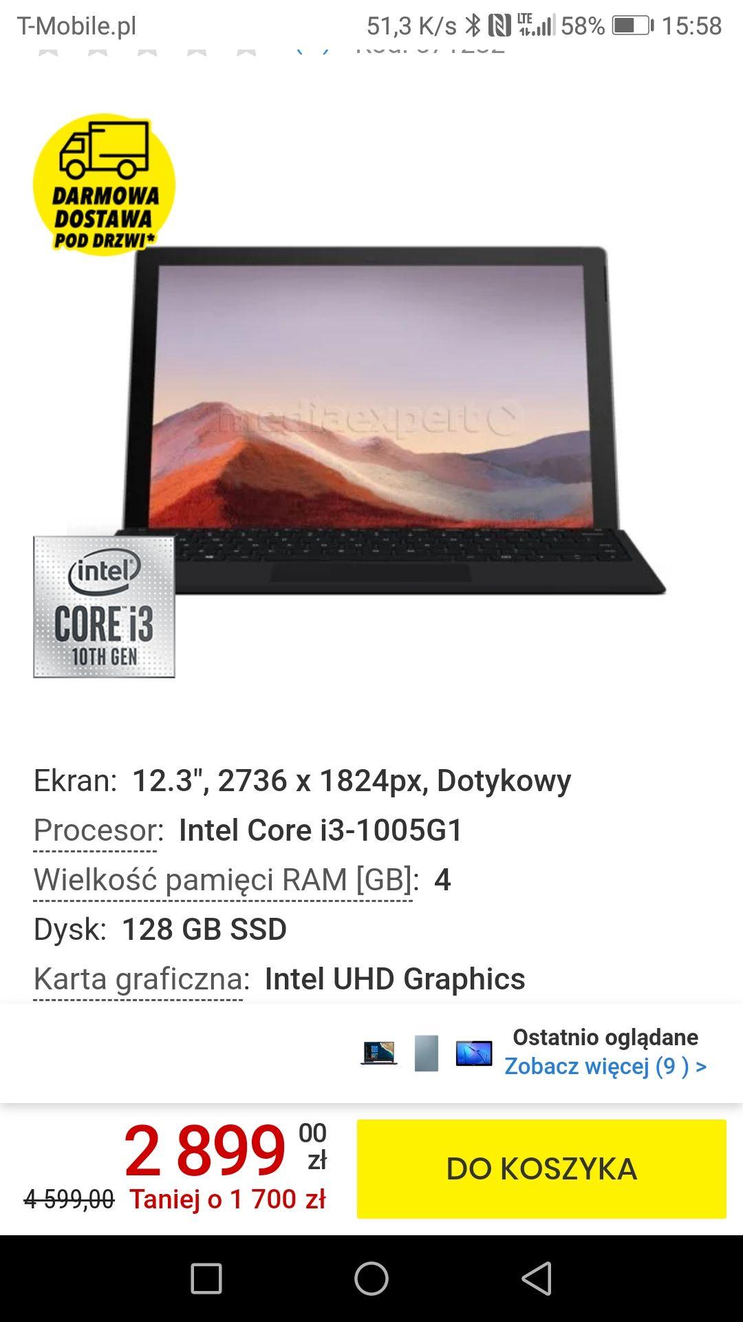 Surface pro 7 z klawiaturą i3 4gb 128gb ssd notebook biznesowy
