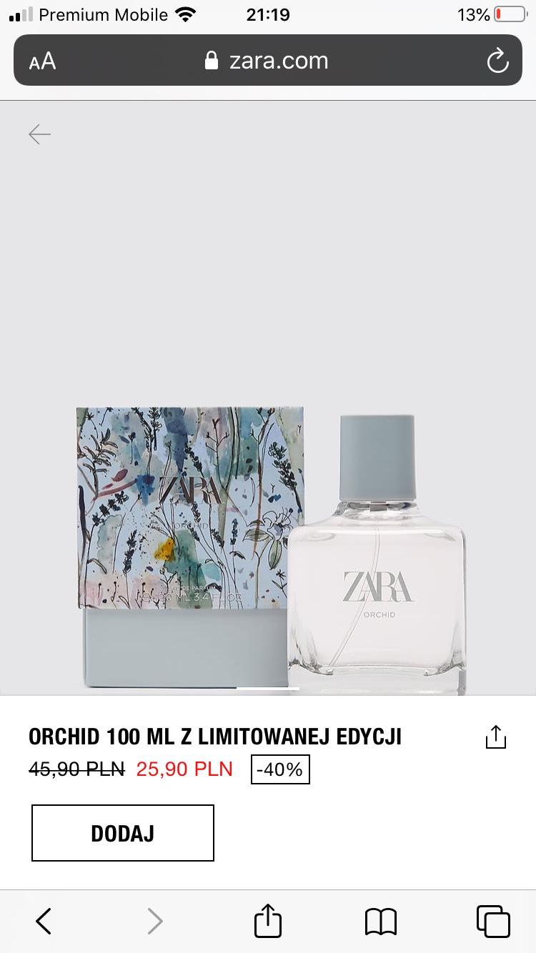Zara orchid woda perfumowana plus kilka męskich w dobrych cenach