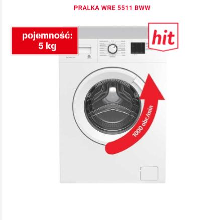 Pralka Beko WRE5511BWW, A++, 1000 obr., 5kg, 41cm. Ole Ole