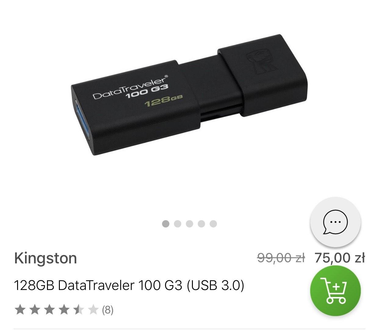 Kingston 128GB DataTraveler 100 G3 (USB 3.0) - Pendrive