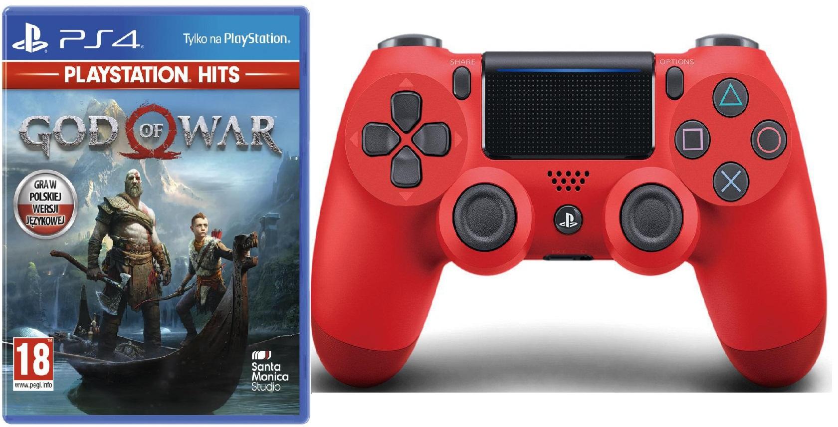 Zestaw Sony Dualshock 4 czerwony i God of War