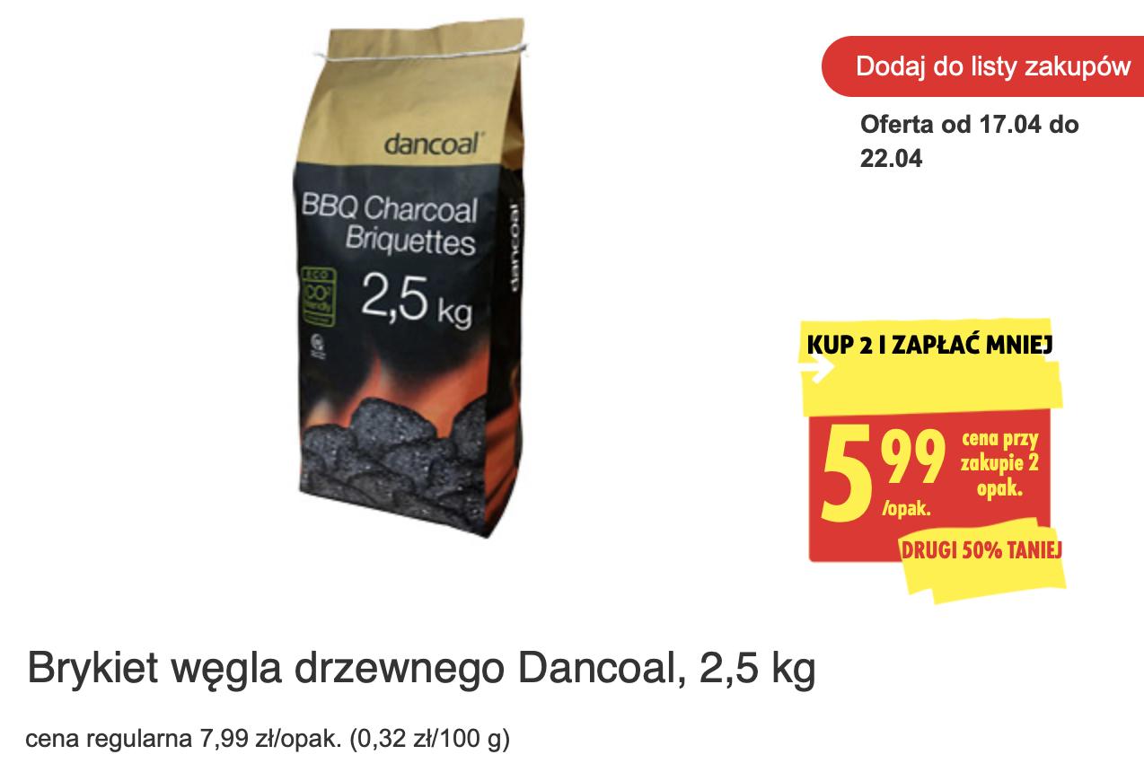 Brykiet węgla drzewnego Dancoal, 2,5 kg - Biedronka (min 2 szt)