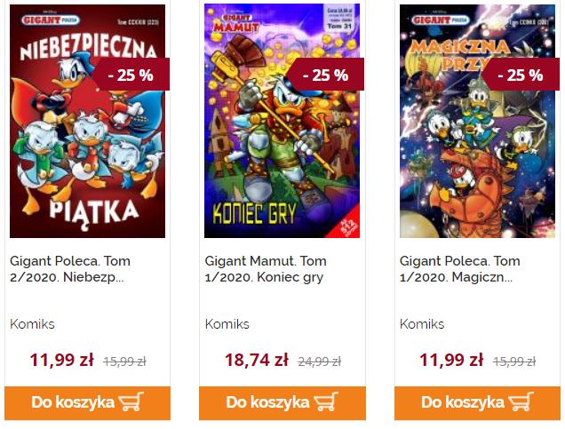 20-25% zniżki na wybrane komiksy Kaczor Donald, Gigant Poleca, Gigant Mamut