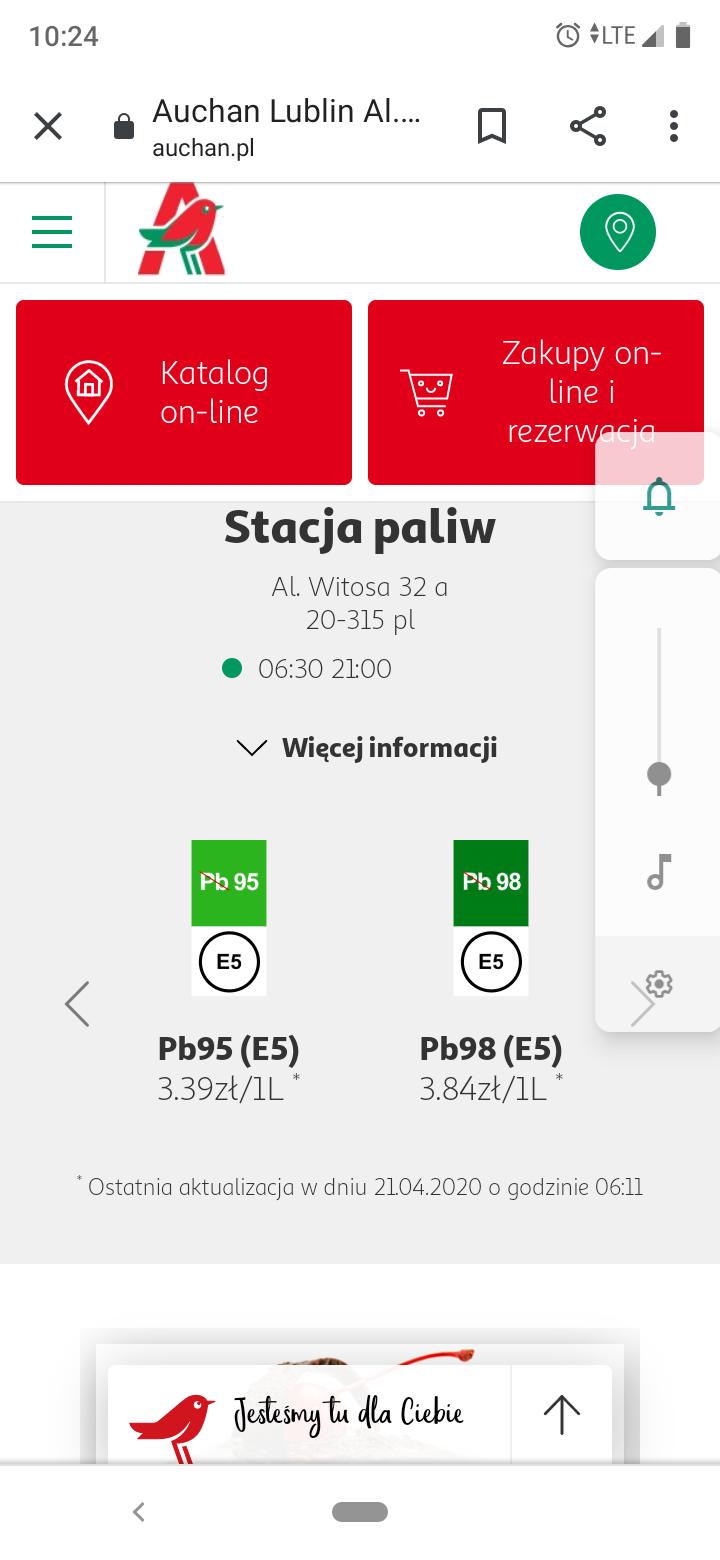 Auchan Lublin paliwo pb95 3.32 benzyna 3.59 ON