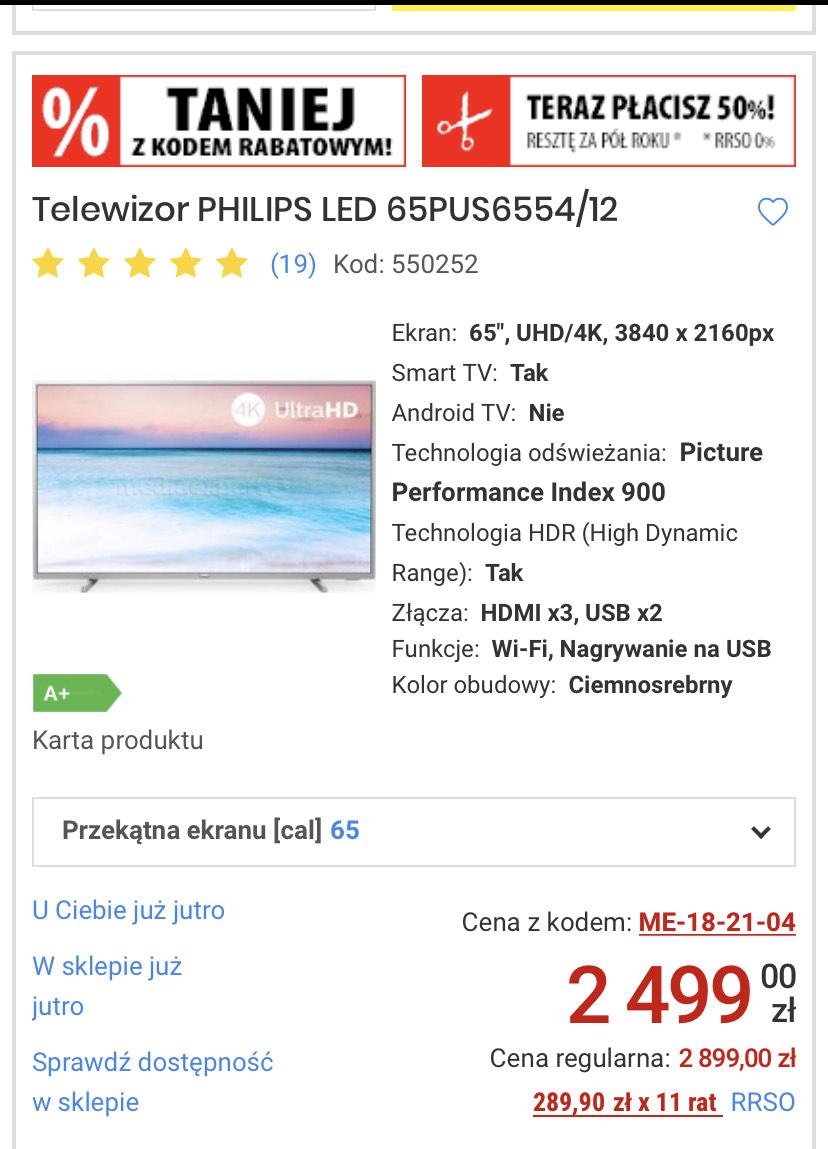 Philips 65 cali 6554, Smart TV, Dolby Vision, 4K