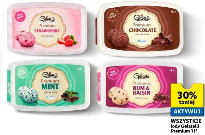 Wszystkie lody Gelatelli Premium 1l 30% taniej z Lidl Plus