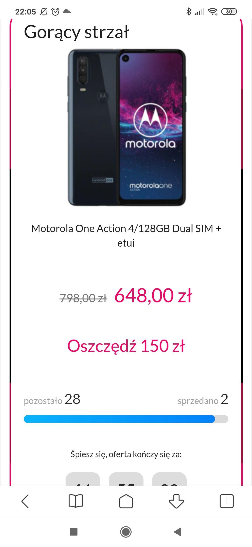 Motorola One Action 4/128GB Dual SIM granatowy + etui