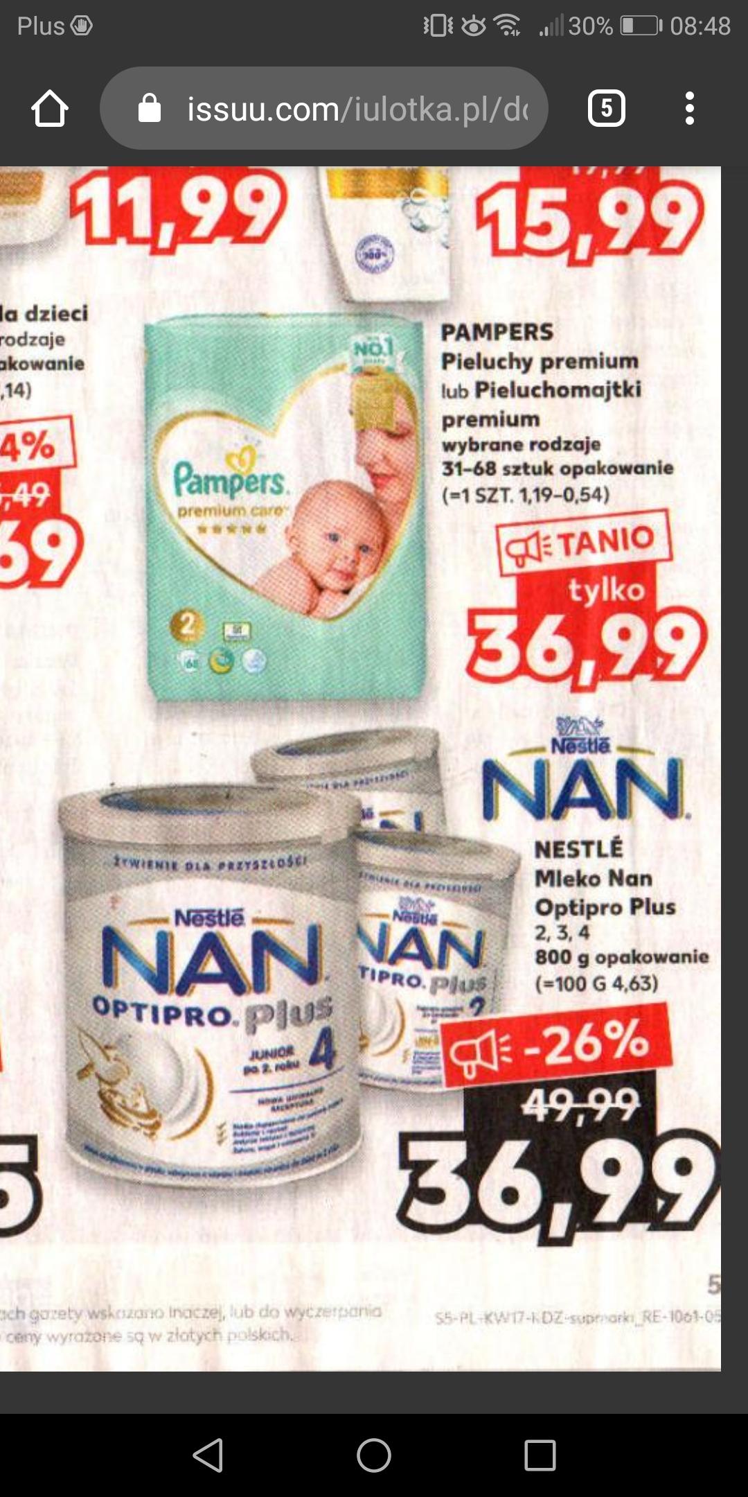 Kaufland Nan optipro plus ; Pampers premium care