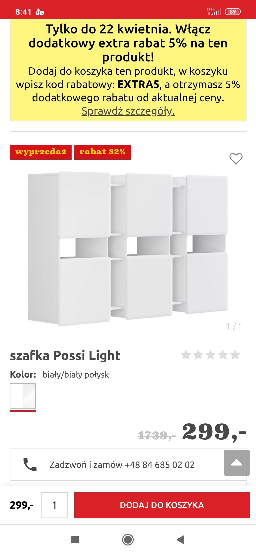 szafkaPossi Light BRW oraz inne meble (zdjęcia i ceny w opisie)