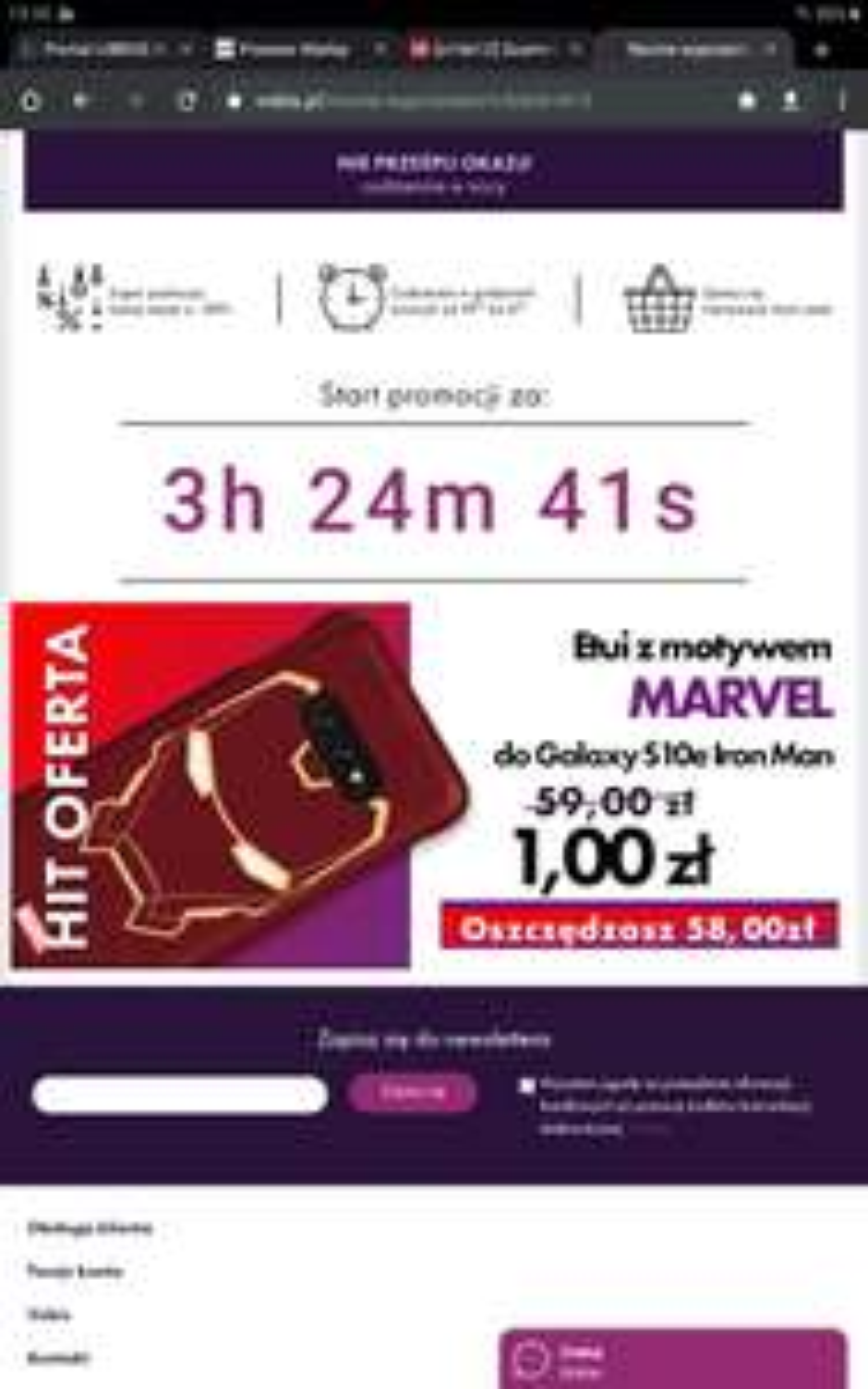 Etui z motywem Marvel do Galaxy S10e Iron Man tylko 1zł! Start godzina 19.00