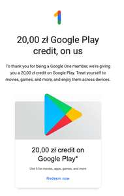 20zł dla posiadaczy Google One na wykorzystanie w Google Play