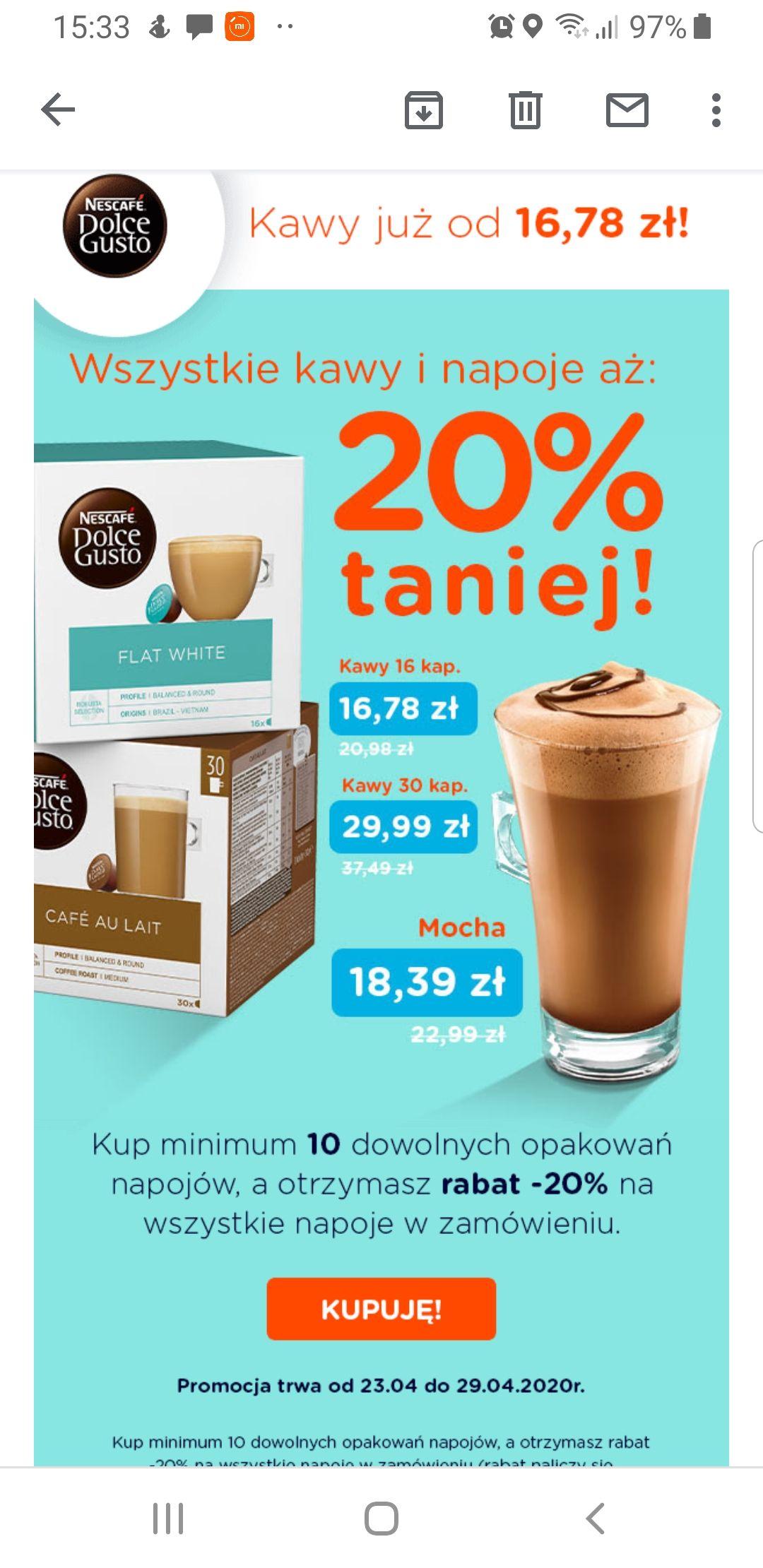 Kawy Dolce Gusto 20% taniej