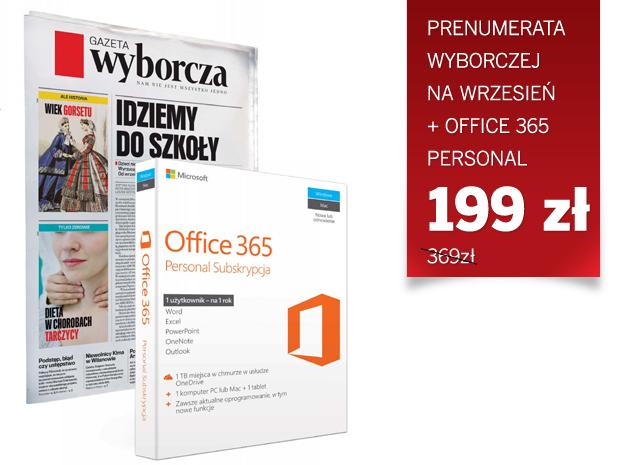 Prenumerata Wyborczej na wrzesień + Office 365 Personal (na 1 rok) za 199PLN @ GW