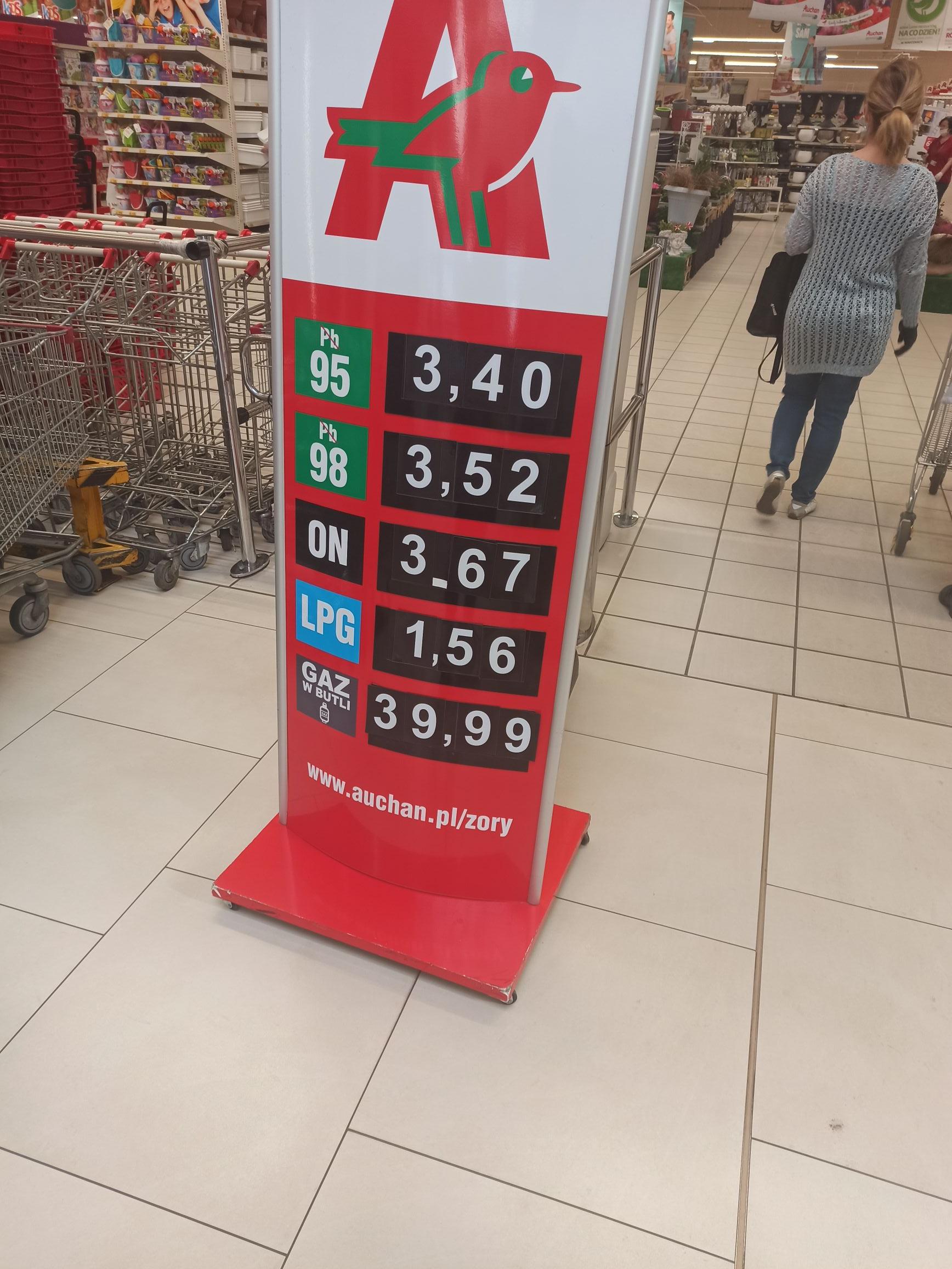 Tanie tankowanie Auchan Żory PB95