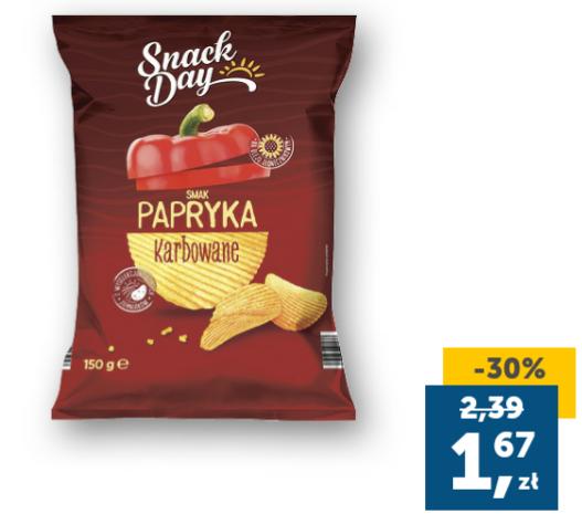Chipsy Snack Day paprykowe karbowane 150g z aplikacją Lidl Plus