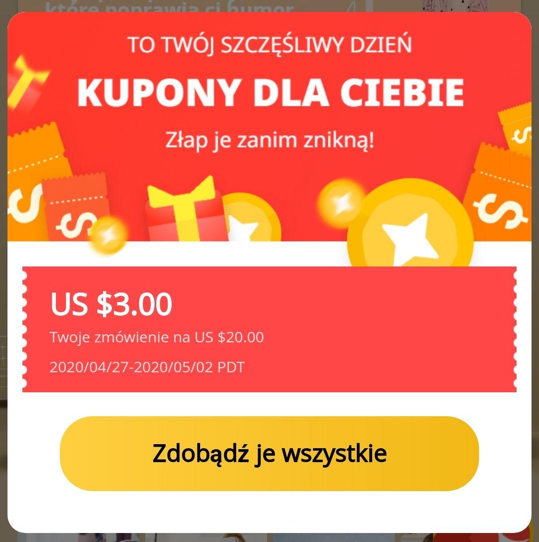Aliexpress 3/20$ kupon
